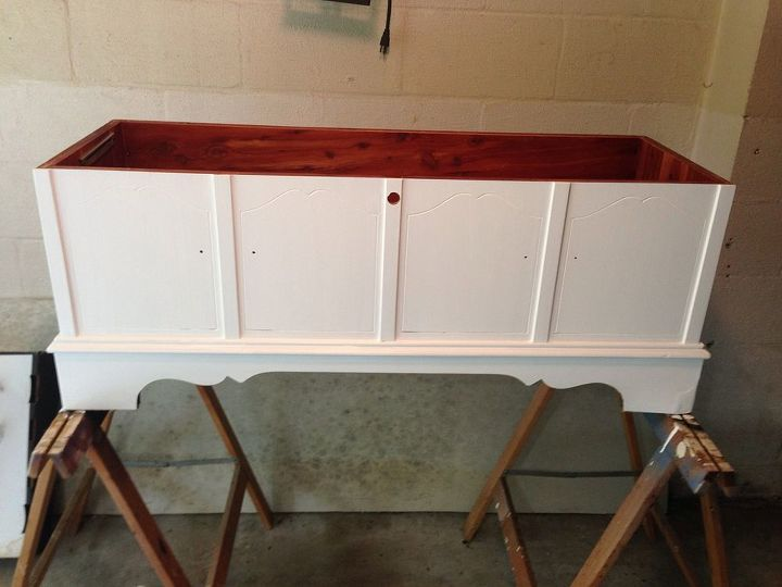 painted furniture cedar chest makeover, bedroom ideas, painted furniture, reupholster