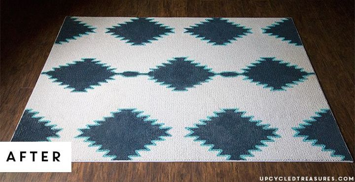 diy painted rug west elm aztec inspired, home decor, how to, reupholster