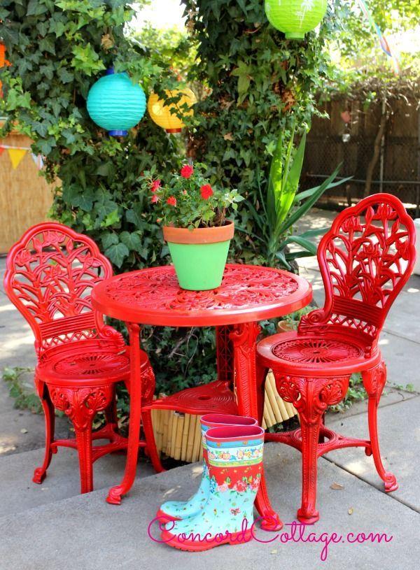 outdoor furniture rustoleum spray paint bistro set red, outdoor furniture,  outdoor living, paint - Outdoor Bistro Set Spray Paint Makeover Hometalk