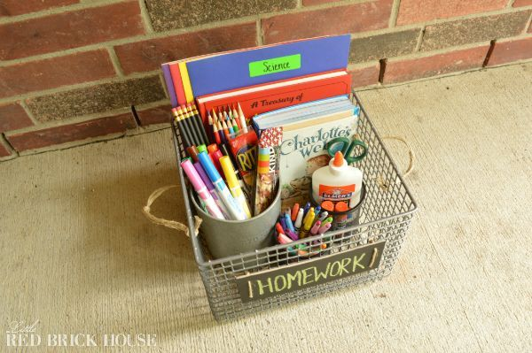 dig metal crate homework caddy back to school, chalkboard paint, crafts, organizing