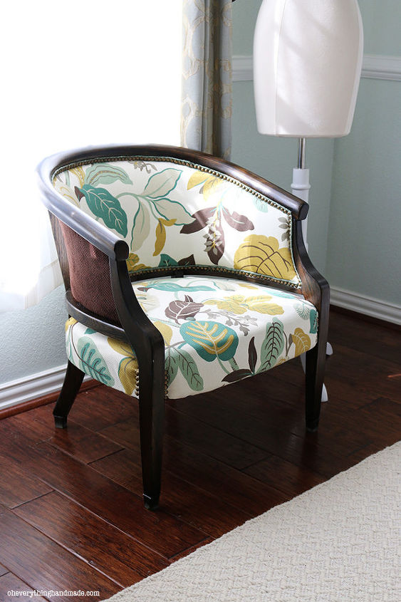 upholstered chair makeover antique refinish, painted furniture, reupholster - Antique Upholstered Chair Makeover Hometalk