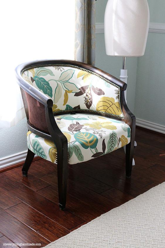 upholstered chair makeover antique refinish, painted furniture, reupholster - Antique Upholstered Chair Makeover Hometalk