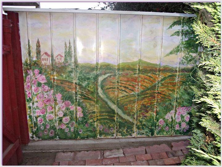 painting mural shed backyard garden vineyard, outdoor living, repurposing upcycling