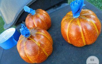 diy painted fall pumpkins vignette white gold, crafts, home decor, seasonal holiday decor