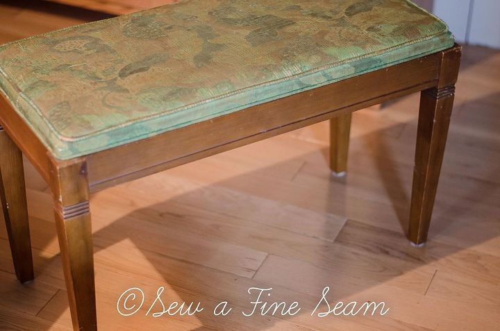 painted furniture piano bench makeover, painted furniture, reupholster