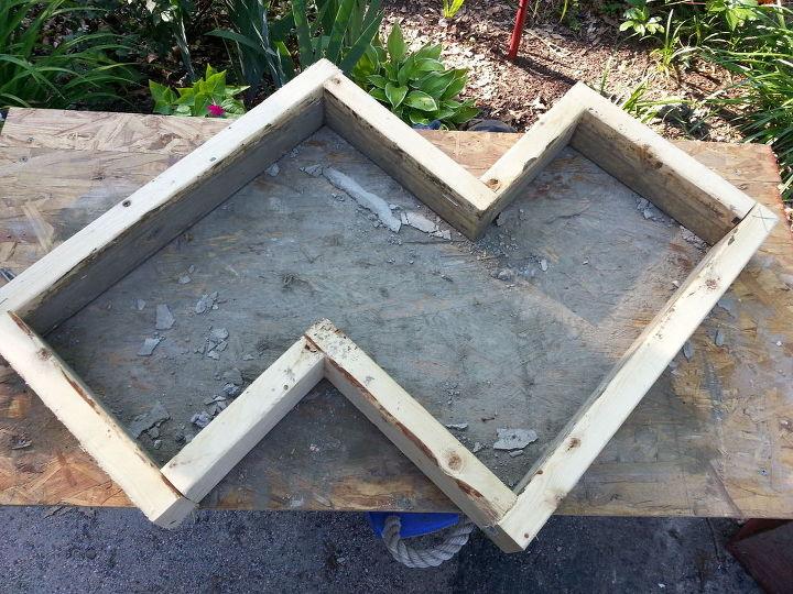 DIY Chevron Inspired Concrete Garden Bench | Hometalk