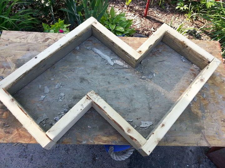 garden art bench concrete chevron inspired, concrete masonry, diy, gardening, how to, outdoor furniture