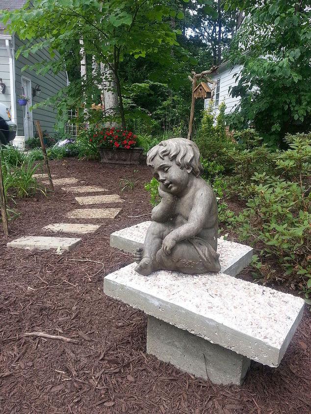 garden art bench concrete chevron inspired, concrete masonry, diy, gardening, how to, outdoor furniture