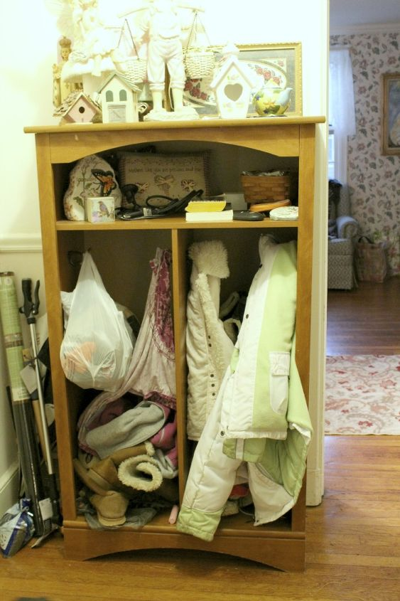 front hall organizer, foyer, organizing, painted furniture, repurposing upcycling, reupholster