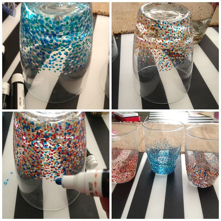 anthropologie inspired confetti glasses, crafts, repurposing upcycling