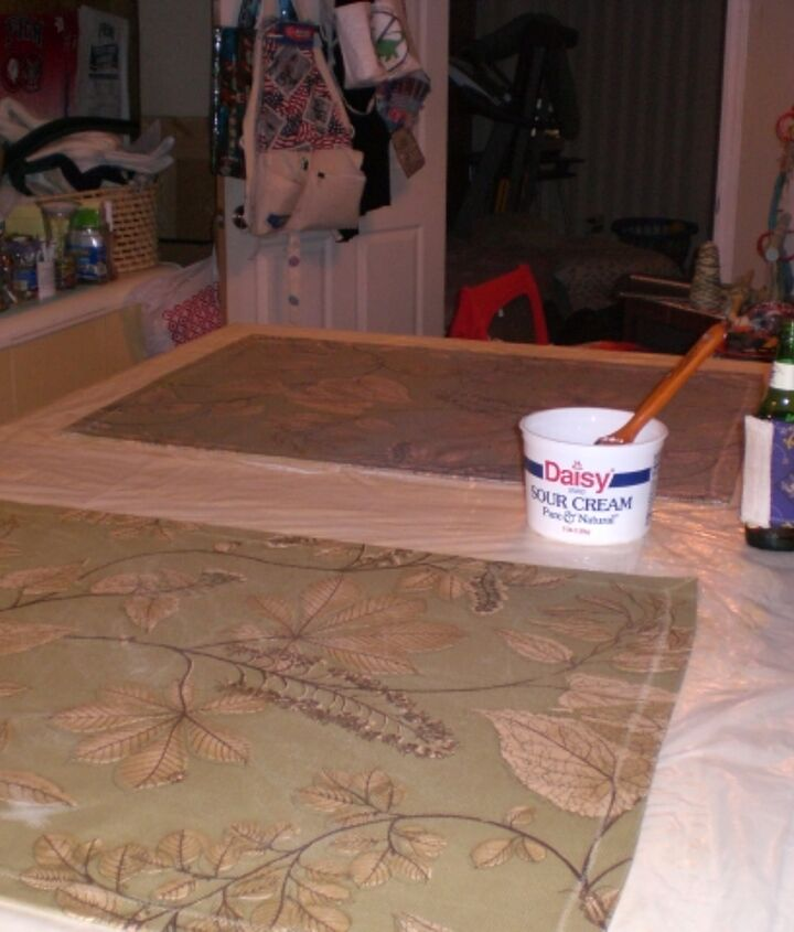 Here I was coating the two smaller floorcloths with polyurethane,  the container is a recycled sour cream tub, it has the polyurethane in it. I will list my procedure and products used later.