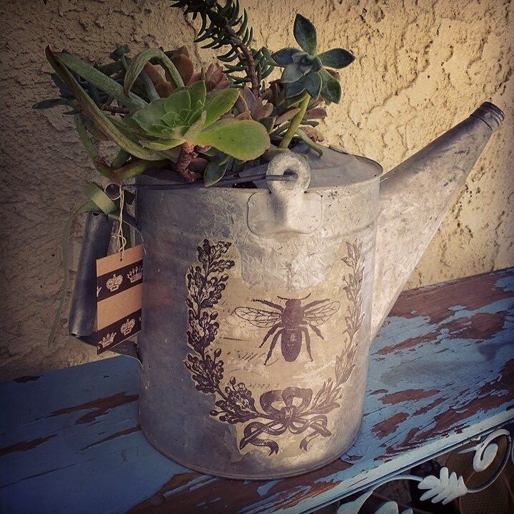 stuff to do with modge podge and old bottles and watering can, crafts, decoupage, repurposing upcycling