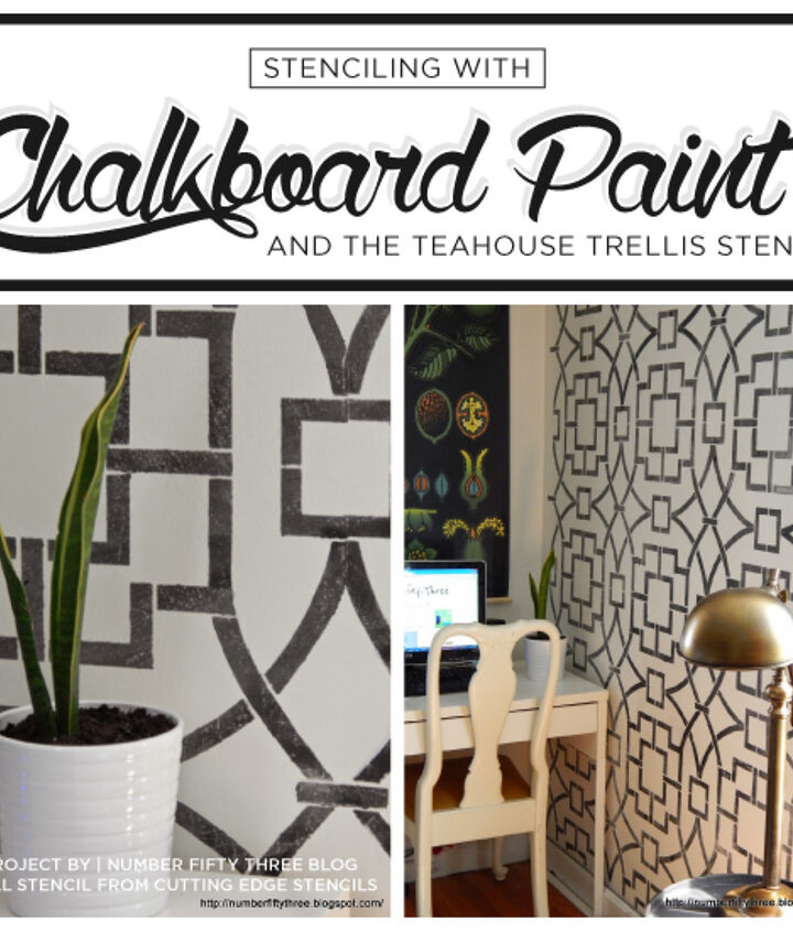 stenciling with chalkboard paint, chalkboard paint, painting, wall decor