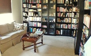 home office design library makeover, home decor, living room ideas, organizing, shelving ideas
