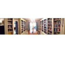 a completed library, diy, shelving ideas, storage ideas, Here it is Panorma captures the whole room