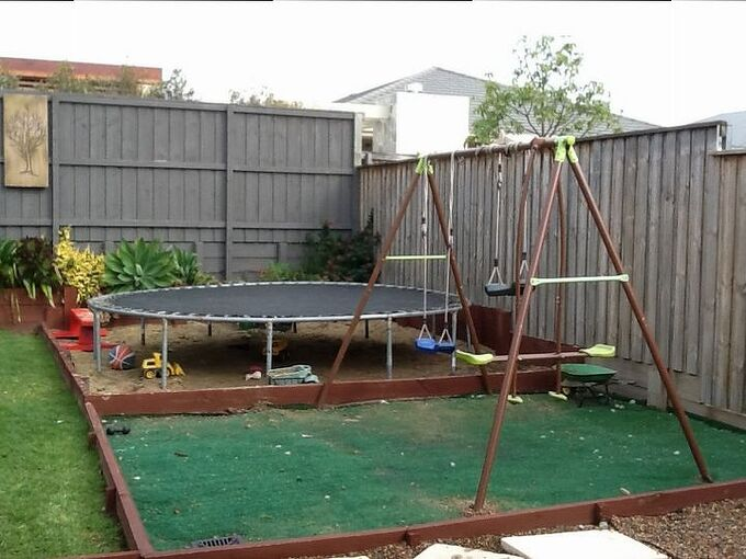 q backyard ideas trampoline base ground help, home maintenance repairs, how to, outdoor living
