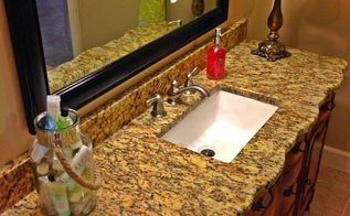 bathroom ideas vanity buffet repurpose granite, bathroom ideas, diy, painted furniture, repurposing upcycling