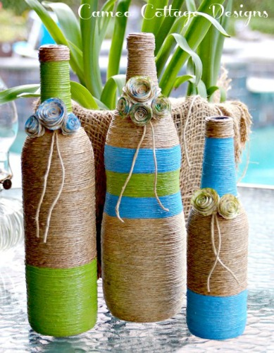 crafts twine wrapped bottles, crafts, home decor, repurposing upcycling