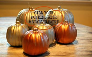 How to Gild a Fake Pumpkin With Metallic Spray and Craft Paint