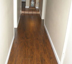 Quick look at finished wood look laminated flooring. & Which hardwood with honey oak kitchen cabinets? | Hometalk