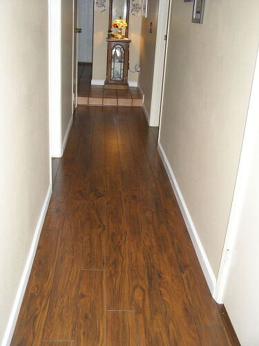 Quick look at finished  wood laminated flooring Which hardwood with honey oak kitchen cabinets Hometalk