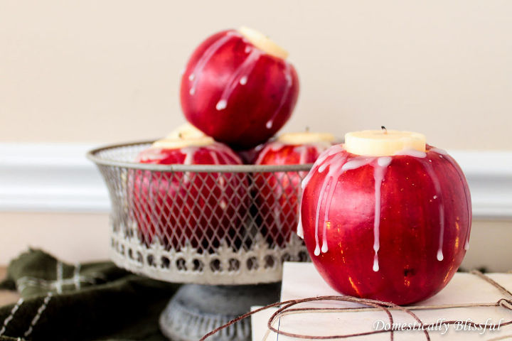 diy apple candle holders, crafts, repurposing upcycling, seasonal holiday decor
