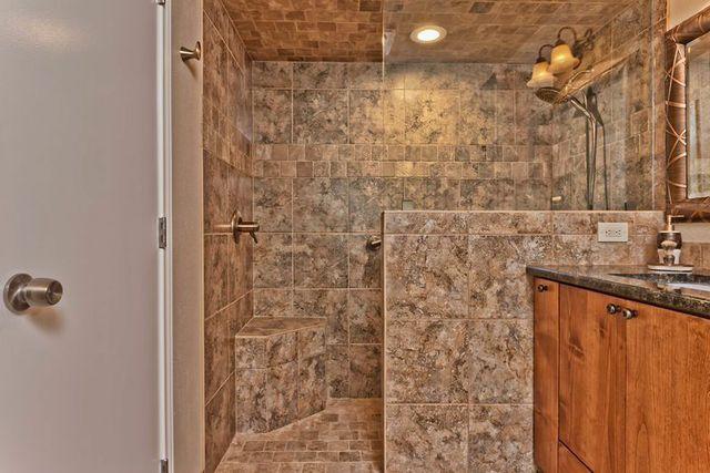 Open walk-in shower.  Sh