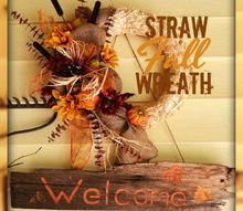 wreath fall straw burlap, crafts, seasonal holiday decor, wreaths
