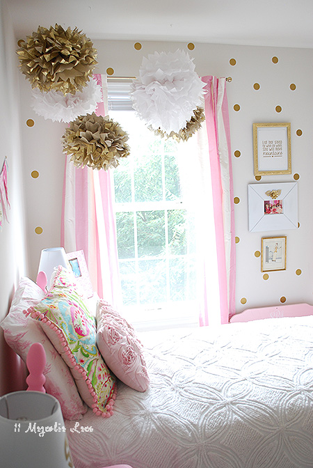 Bedroom Ideas Girls Room Pink White Gold Decor Painted Furniture Reupholster