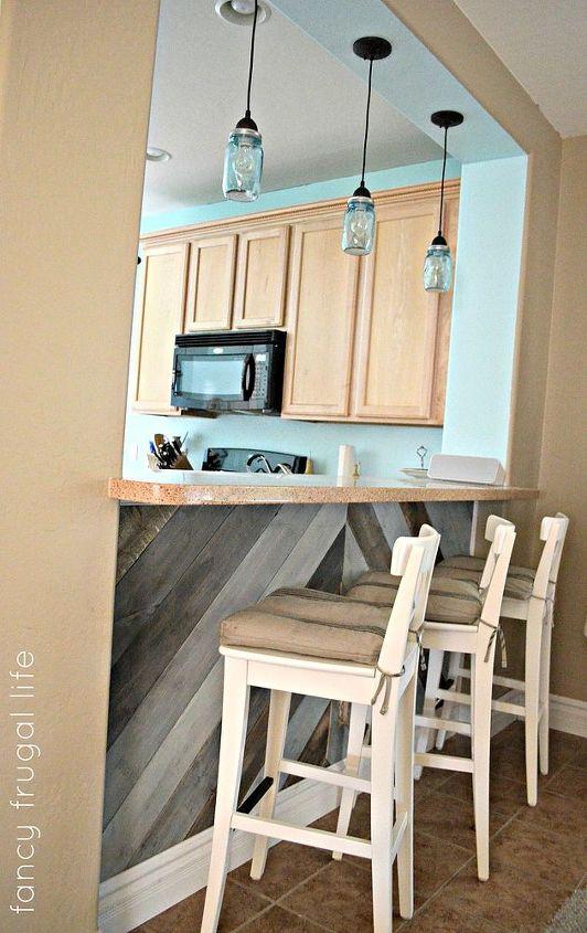 Diy Kitchen Bar Planked Wall