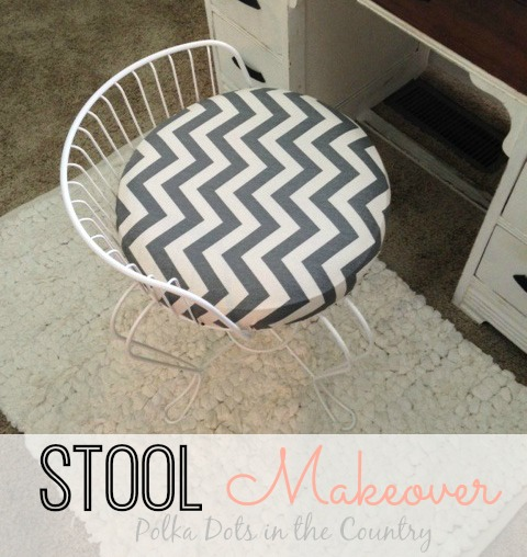 before after vanity stool makeover polka dots in the country, diy, painted furniture, reupholster