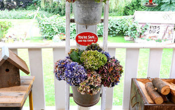 forever in bloom hydrangeas on a ladder go better with coffee, container gardening, flowers, gardening, hydrangea