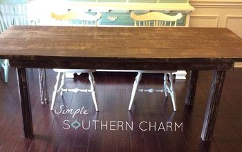 diy 2x4 farm house table, diy, painted furniture, rustic furniture, woodworking projects