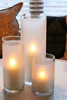 vases into frosted hurricanes, crafts, home decor, repurposing upcycling
