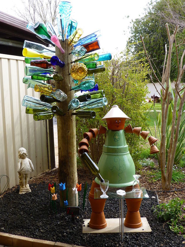 aussie version of the bottle tree, gardening, repurposing upcycling