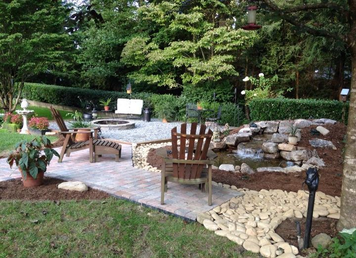 backyard before and after, concrete masonry, decks, gardening, landscape, outdoor living, patio, ponds water features