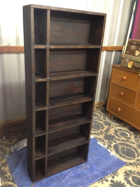 transforming an ordinary wood bookcase with milk paint, decoupage, painted furniture, repurposing upcycling