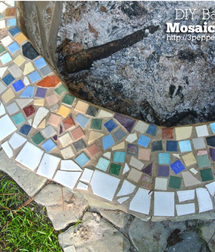 diy backyard mosaic firepit, diy, outdoor living, tiling