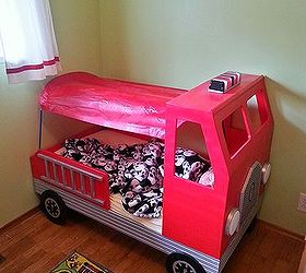 fire truck toddler bed bedroom ideas diy painted furniture repurposing upcycling