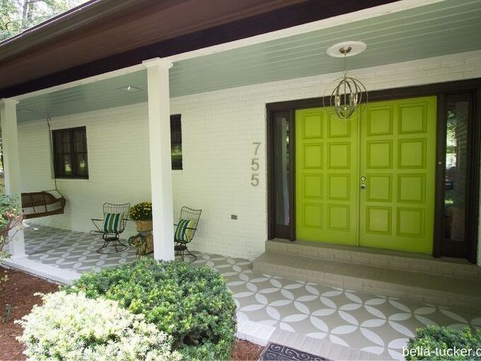 stenciled and painted front porch makeover, curb appeal, painting, porches, Front porch makeover