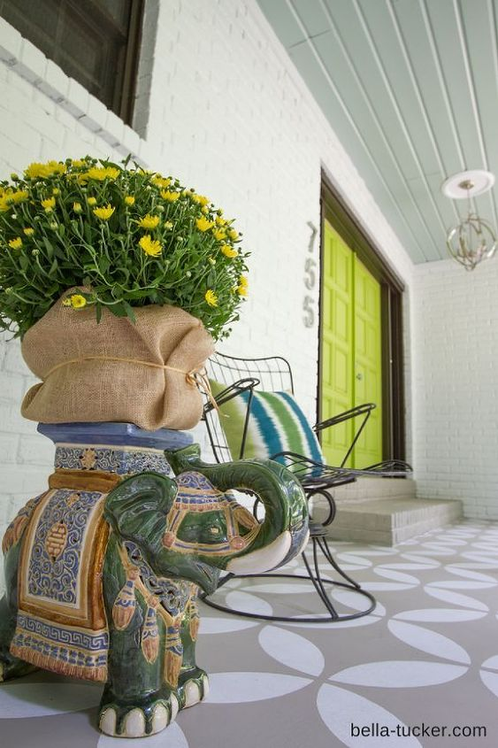 Stenciled And Painted Front Porch Makeover Hometalk