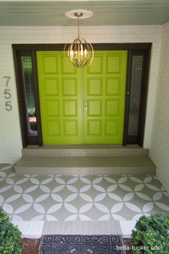 stenciled and painted front porch makeover, curb appeal, painting, porches