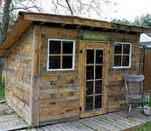 pallet garden shed potting old windows cans, diy, outdoor living, pallet, repurposing upcycling, roofing, woodworking projects