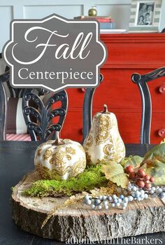 woodworking wood fall centerpiece tree trunk slab rustic, dining room ideas, home decor, repurposing upcycling, seasonal holiday decor, woodworking projects
