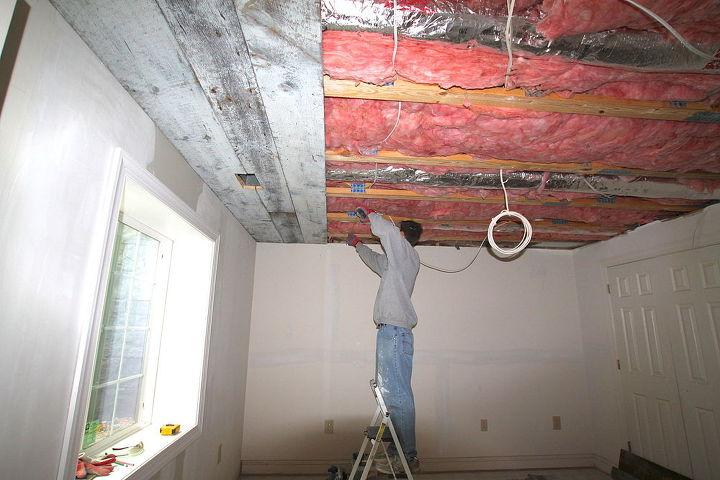 ceiling decorating ideas - reclaimed wood herringbone design on ceiling,  via Make Me Pretty Again
