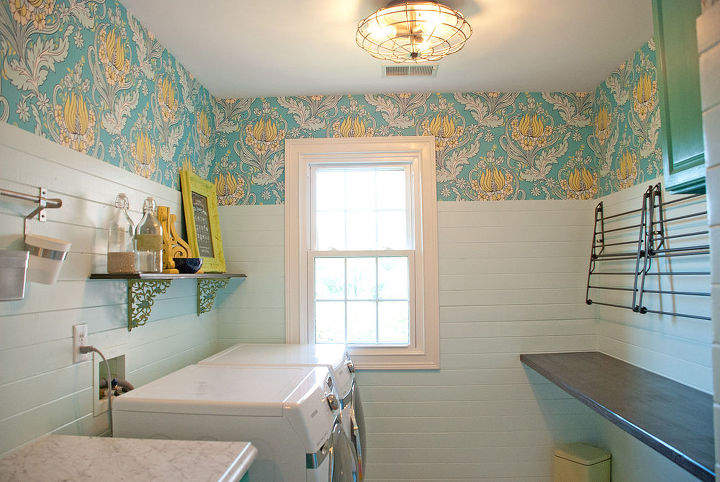 laundry room makeover colorful before after, chalk paint, home decor, kitchen cabinets, laundry rooms, painted furniture