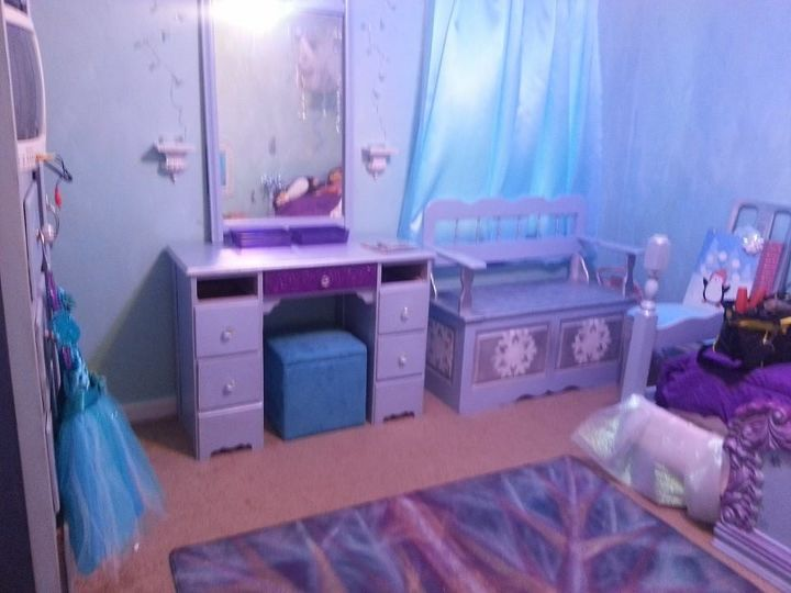 frozen theme room i created, bedroom ideas, home decor, painted furniture