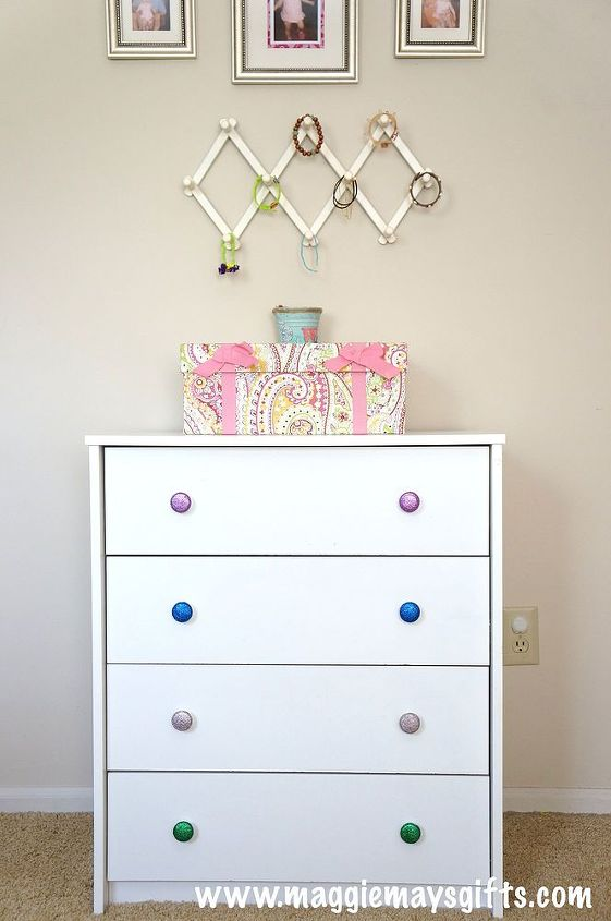 diy dresser knobs glitter mod podge budget, crafts, painted furniture