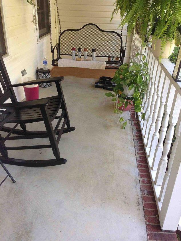 porches painted concrete stone stencil makeover, concrete masonry, diy, painting, porches, Getting started