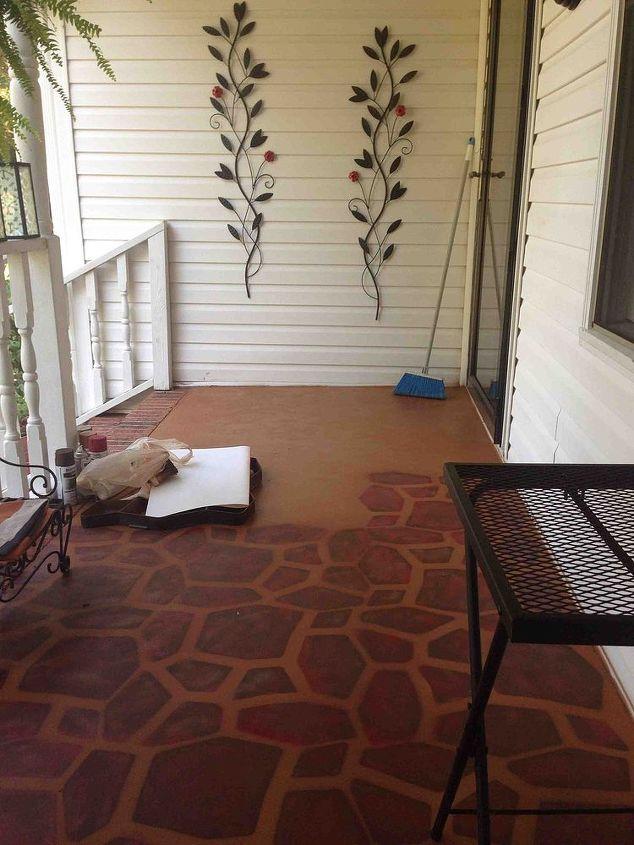 Painted Concrete Porch With a Stone Stencil | Hometalk